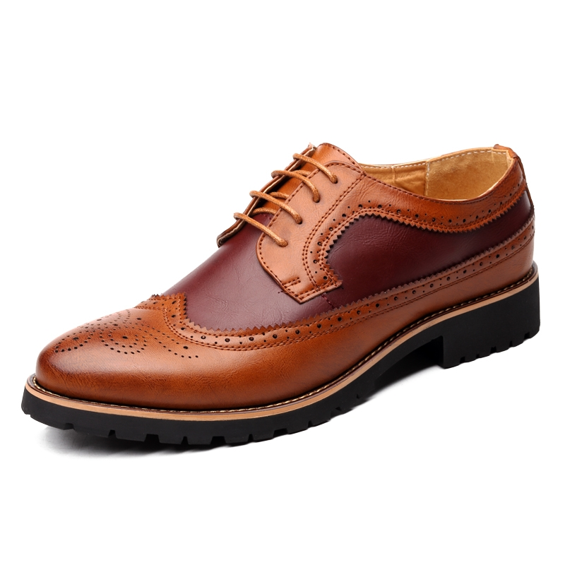 Mens Business Lace Up Leather Dress British Breathable Formal Shoes Leisure Chic