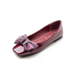 Women Silk Bowknot Flats Square Toe Low Cut Waling Shoes Elegant Lady Office Court Shoes wine red 40