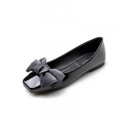 Women Silk Bowknot Flats Square Toe Low Cut Waling Shoes Elegant Lady Office Court Shoes black 38