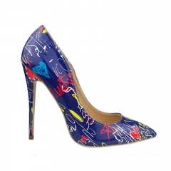 Women Sexy Pointy Floral Printing High Heels Geometric Shape Slip-on Shoes Night Club Party Heels blue 39