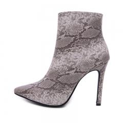 New Fashion Women Black Snake Skin Pattern Boots Sexy Short Plush Warm Heels Zip Pointy Shoes black 35
