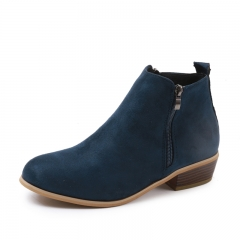 Women PU Black Brown Leopard or Suede Green Blue Boots Side Zip Up Round Toe Ankle Short Boots Shoes Blue(Suede) 38