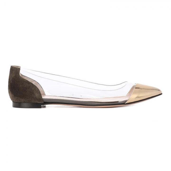 5b3b783c7b7 Women Golden Pointy Slip On Cover Heel Flats Transparent Side Sandals Lady  Elegant Office Shoes brown