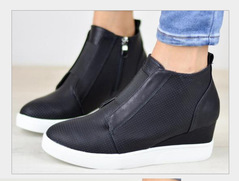 Women Invisible Height Increase Boots Side Zip Up Round Toe Short Ankle Wedge Boots black 35