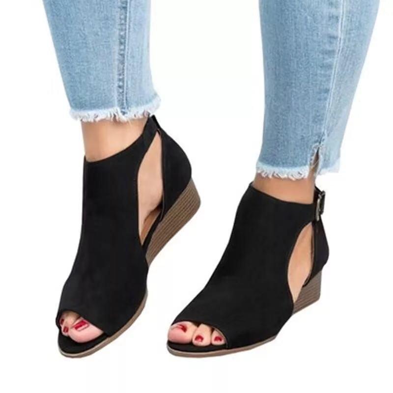 692a719f5f4 Women Black Peep Toe Half Hollow Side Sandals Elegant Lady Buckle ...