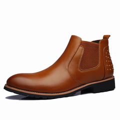 Special Offer Men Shoes Leisure Real Leather Shoes Breathable Footwear Loafers Elastic Slip On Boots yellow 43
