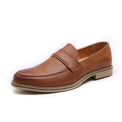 Men Classic Simple Design Low Cut Slip On Loafers Round Toe Breathable Soft Sole Formal Shoes brown 44