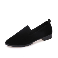 Women Low Cut Slip On Office Flats Shoes Suede Pointy Low Heel Court Shoes Size 35-40 black 39
