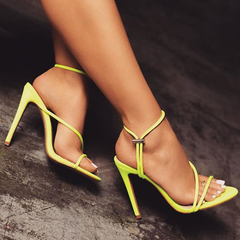 Women Summer Sexy Fluorescent Heels Peep Toe Adjustable Band Party Shoes Casual Sandals fluorescent green 41