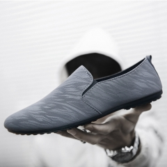 Men's fashion Loafers Slip-Ons casual shoes Breathable and Comfortable Lazy shoes Driving shoes gray 39