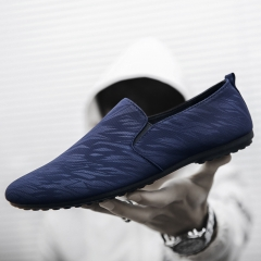 Men's fashion Loafers Slip-Ons casual shoes Breathable and Comfortable Lazy shoes Driving shoes blue 39