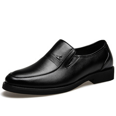 Men's Formal business casual leather shoes fashion Wear resistant Comfortable convenient Slip on black 38 pu