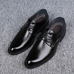 Men's Formal British business suit leather shoes Lace up Pointed Toe Wedding shoes fashion Classic black 38 PU leather