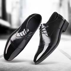 Men's Formal business leather shoes Leisure Lace up High quality Classic fashion style lace up black 38 microfiber