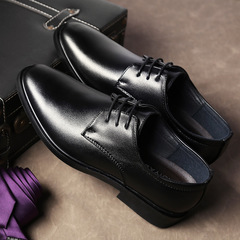 Men's Formal business leather shoes Leisure High quality Classic Dress Shoes Wedding shoes Elegant black 38 microfiber