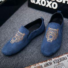 Men shoes men Loafers fashion Lazy shoes Driving shoes canvas shoe New Slip-Ons blue 43