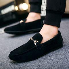 Men shoes men Loafers fashion Lazy shoes Driving shoes canvas shoe New Slip-Ons black 45