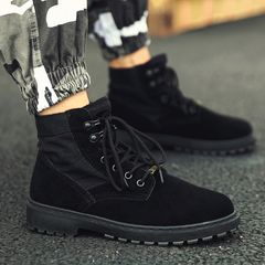 Men Boots British style Martin boots Work boots wild hiking shoes Imitation Military boots Durable black 42