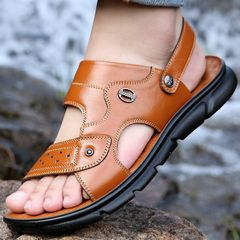 Men shoes Sandals Flip Flops Slippers Slip-Ons Cowhide Beach shoes summer male outdoor Comfortable yellow 41