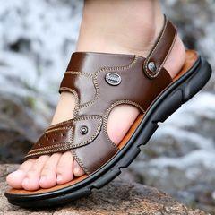 Men shoes Sandals Flip Flops Slippers Slip-Ons Cowhide Beach shoes summer male outdoor Comfortable brown 41