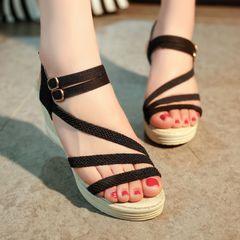 Women Shoes Sandals Flip Flops Wedge sandals Slippers Weave Thick bottom heel hot sales black 38