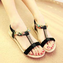 Women Shoes Sandals Flip Flops Wedge sandals Slippers flats hot sales Artificial diamond female new black 38