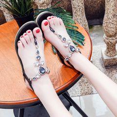 Women Shoes Sandals Flip Flops Wedge Slippers flats hot sales Artificial diamond female new fashion black 38