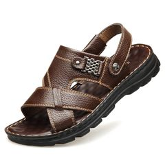 Men shoes Sandals Flip Flops Slippers Slip-Ons real Cowhide Beach shoes summer male outdoor soft Brown 42