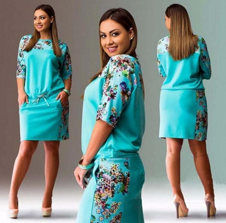 b2fb8cd0e59 Women Floral Print Sleeve Split Cocktail Party Bodycon Midi Dress(Plus Size  S--