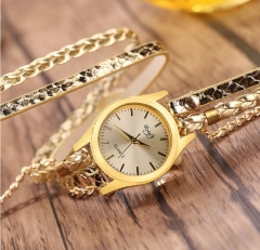 Rope Braided Multilayer Bracelet with Quartz Watch for Women gold onesize gold
