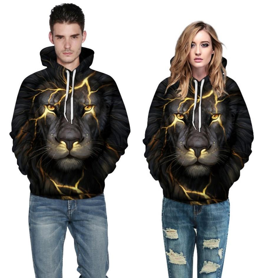 86719869bd5ce plus size Men 3d Sweatshirts Print Golden Lightning Lion Hooded Hoodies  Women Tracksuits Tops large