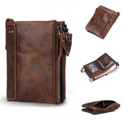 Genuine  Horse Cowhide Leather Men Short Purse Small Vintage Wallet Brand High Vintage Designer Dark red one size