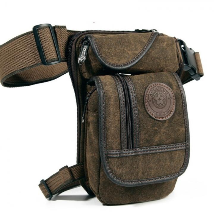 Men's Canvas Drop Leg  Waist Belt Hip Bum Military Travel Motorcycle Multi-purpose Messenger Bag as picture one size