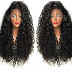 Female Fashion Long Curly Lace Frontal Synthetic Wig Full Wig Corn Wave Wig Black 26 inch