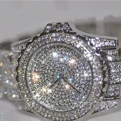 Mujeres de Lujo Relojes Rhinestone cristal  ceramica  reloj de vestido señora femmes montres pierre Goid