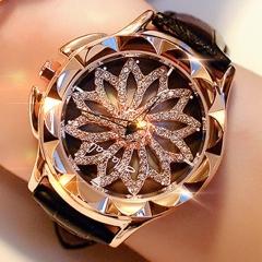 Women Rhinestone Watches Rotation  Brand Leather Band Big Dial Bracelet Wristwatch Crystal Watch Black