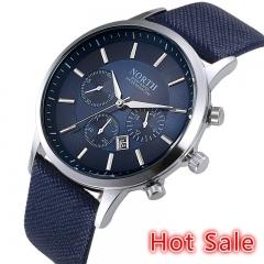 2018 High Grade Mens Fashion Leather Strap Waterproof Quartz Watch Black one size