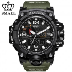 SMAEL Brand Sport Men's  Analog Quartz Dual Display LED Digital Electronic Waterproof Military Watch Army &black one size