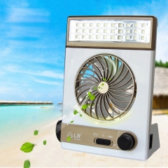 NEW Solar Power AC Rechageable 3-in-1 Camping Cool Fan Light Tent LED Lantern Cooler 2018 Gold