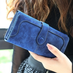 Women Purse Dull Polish Leather Laides Long Wallet PU Leather Splice Phone Holder Hand Bag Blue one size