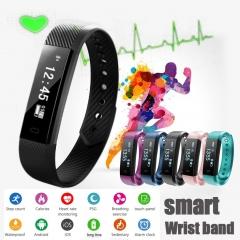 ID115 Smart Bluetooth Sports Bracelet Pedometer Mileage Calorie Sleep (Heart Rate) Monitor Camer Black one size