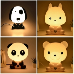Baby Room Sleeping Lamp Cute Panda/Rabbit/Dog/Bear Cartoon Light Kids Bed Lamp panda 25cm 220