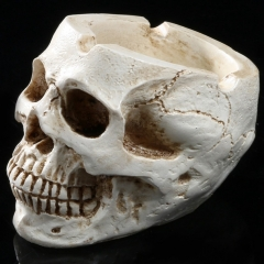 Skull Shaped Resin Ashtray Skeleton Head Figurines Ornament Halloween Crafts Decorative Supplies as picture one size