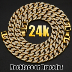 Hip Hop 24K Gold Plated Iced Out Shiny Full Simulated Clear Necklace & Bracelet Mens Jewelry Sets as picture necklace20inch