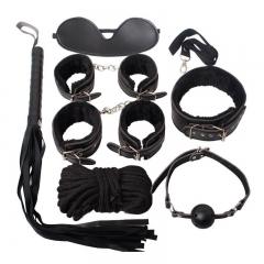 Sex Bondage Kit Set 7 Pcs  Adult Games Set Hand Cuffs Footcuff Whip Rope Couples Erotic Toys black one size