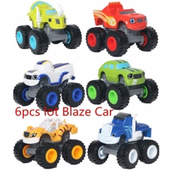 6pcs/lot 7cm ABS Blaze Monster Machines Toys Transformation Vehicle Car Kids Toys Children's Gifts as picture one size