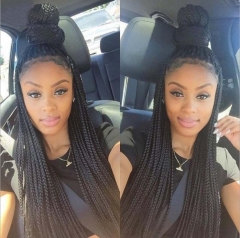 Fashion Synthetic Braid Wig with Lace Front Braided wigs for  African American Heat Hair Wigs Black 22 inch