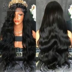 Female Fashion Natural Wave Long Black Curly Lace Front Wig Full Wig Synthetic Wigs Human Hair Wig Black 26 inch