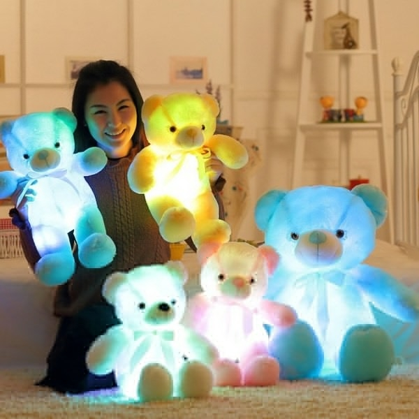Colorful Glowing Bear Gift for Kids Home Decoration Creative Light Up LED Bear Stuffed Plush Toy Blue 30 cm