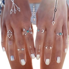 Tribal Exotic Moon Arrow Finger Knuckle Rings 6 Pcs Set Silver as picture one size